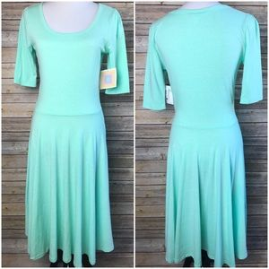 Lularoe Nicole Solid Mint Green Seafoam Dress